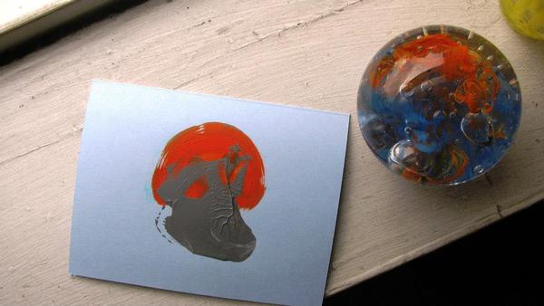 Paperweight with hand-painted card