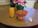 Bud vase bowl clear heart